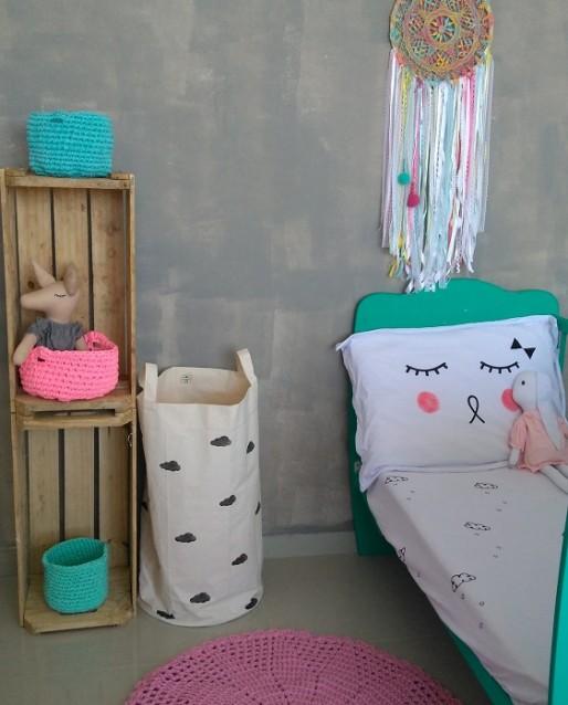 Cesta de Croche de Malha Ecológica Pink